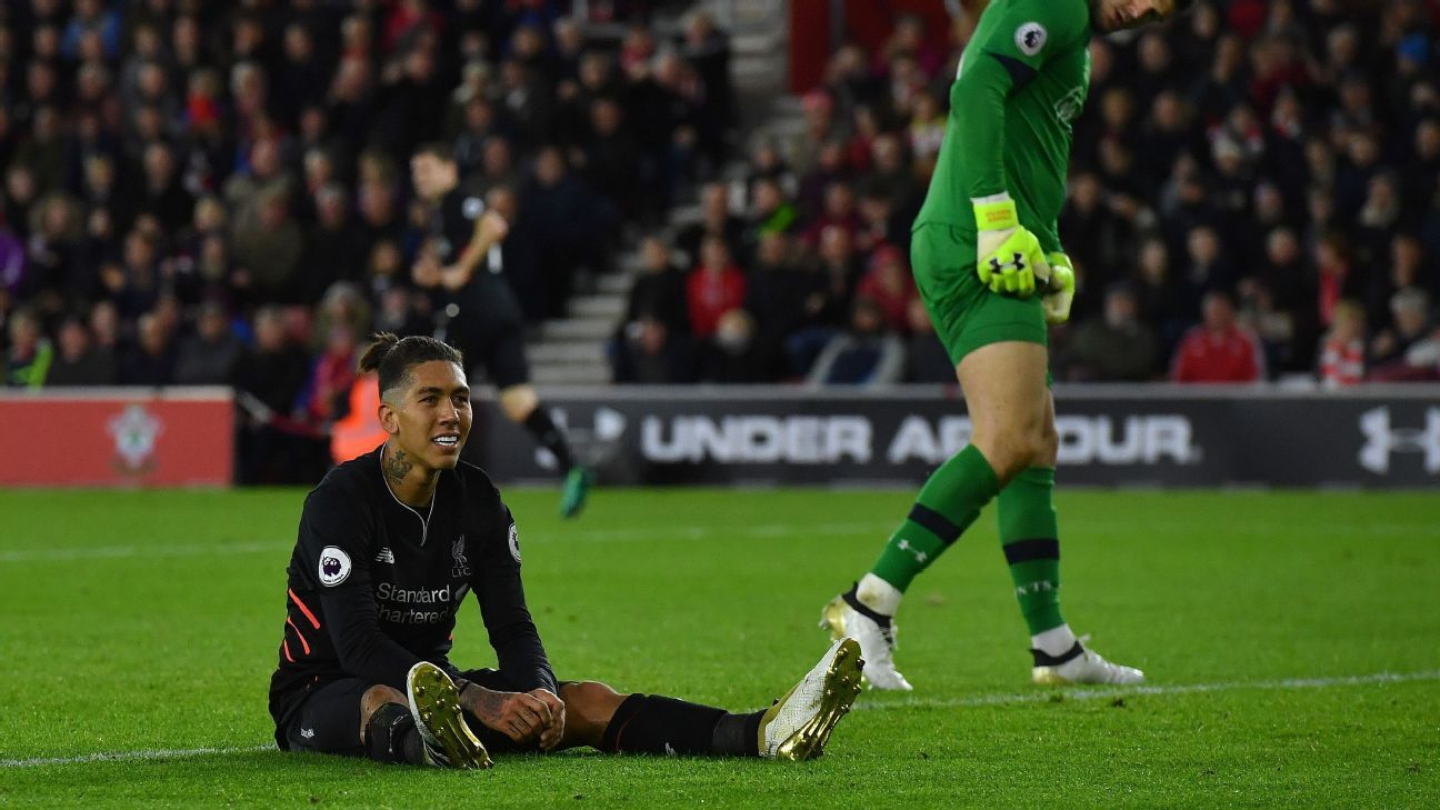 Roberto Firmino and Liverpool were held by Southampton on Saturday.