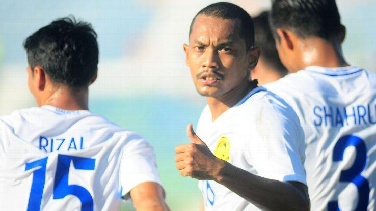 Syazwan of Malaysia celebrates vs. Cambodia