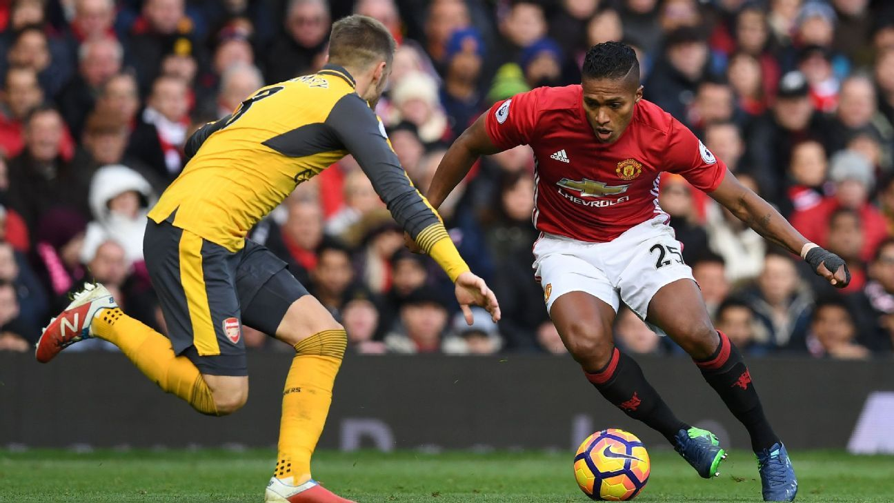 Antonio Valencia in action for Manchester United against Arsenal at Old Trafford.
