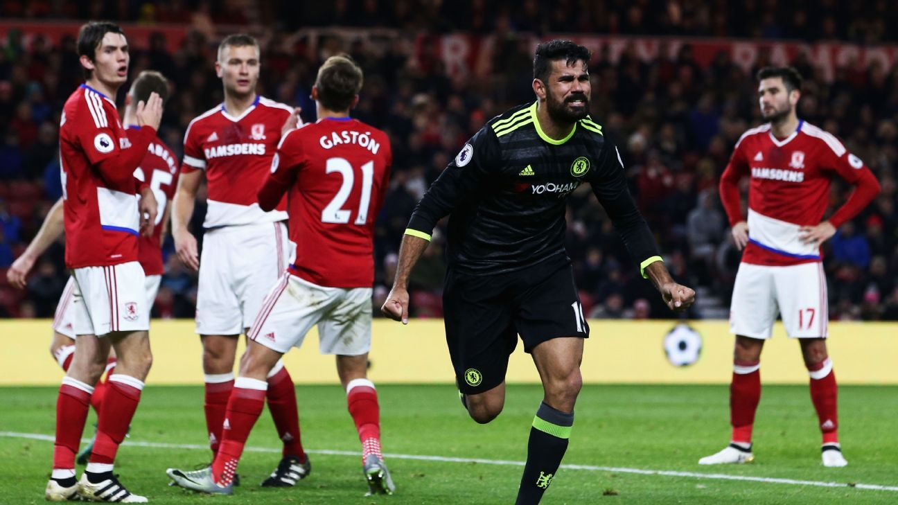 Diego Costa scored his 10th goal of the season against Middlesbrough.