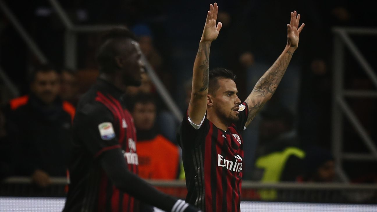 Suso celebrates scoring the first of two goals in a 2-2 draw against Inter.