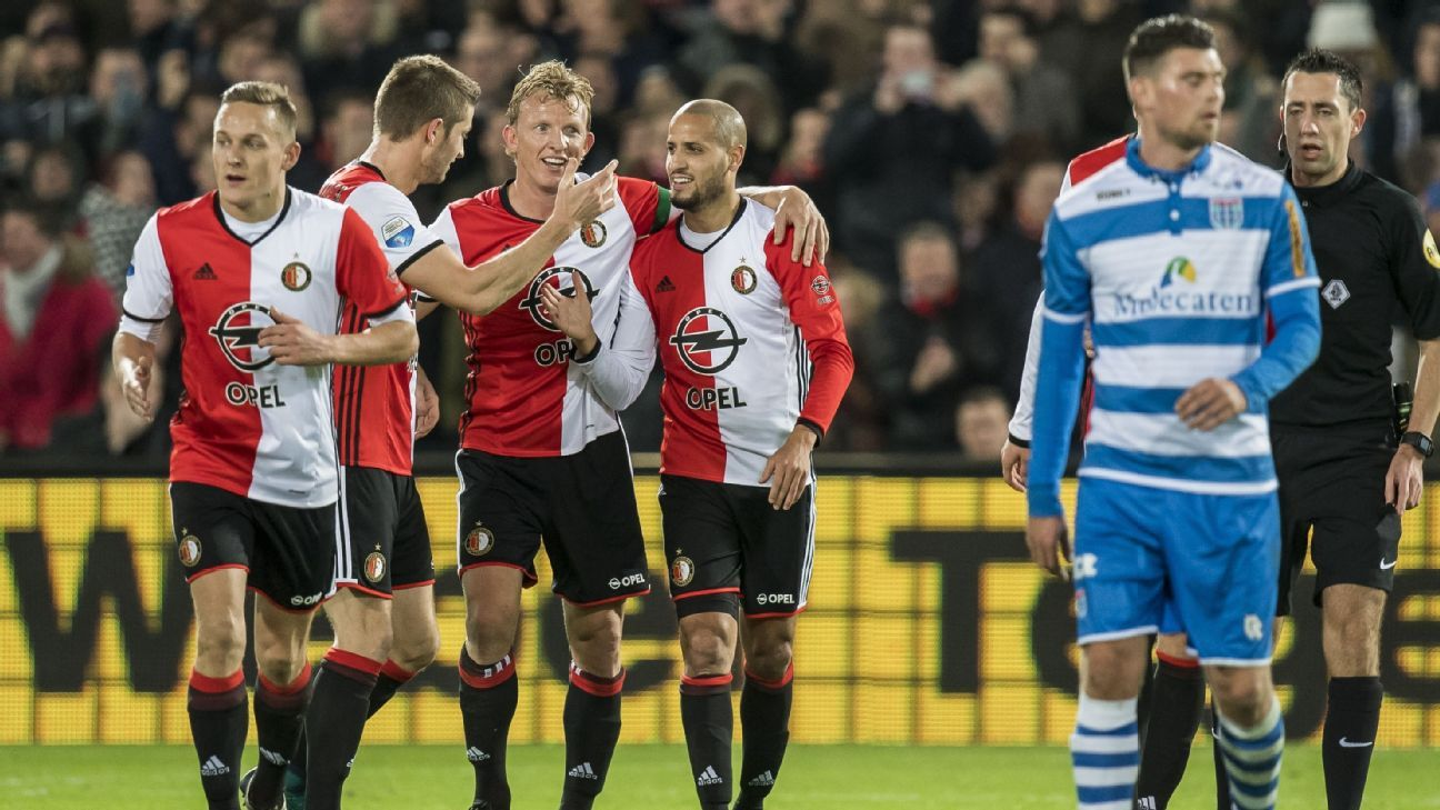 Feyenoord players including Dirk Kuyt celebrate a goal against PEC Zwolle.