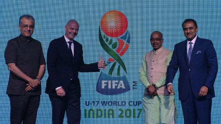 AIFF president Praful Patel (right) said he will also discuss setting up a National Centre of Excellence at a meeting with FIFA president Gianni Infantino (second from left) on October 27.