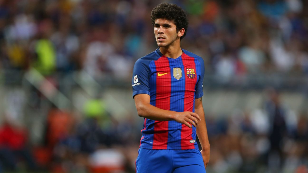 Barcelona midfielder Carles Alena playing against Leicester City during International Champions Cup