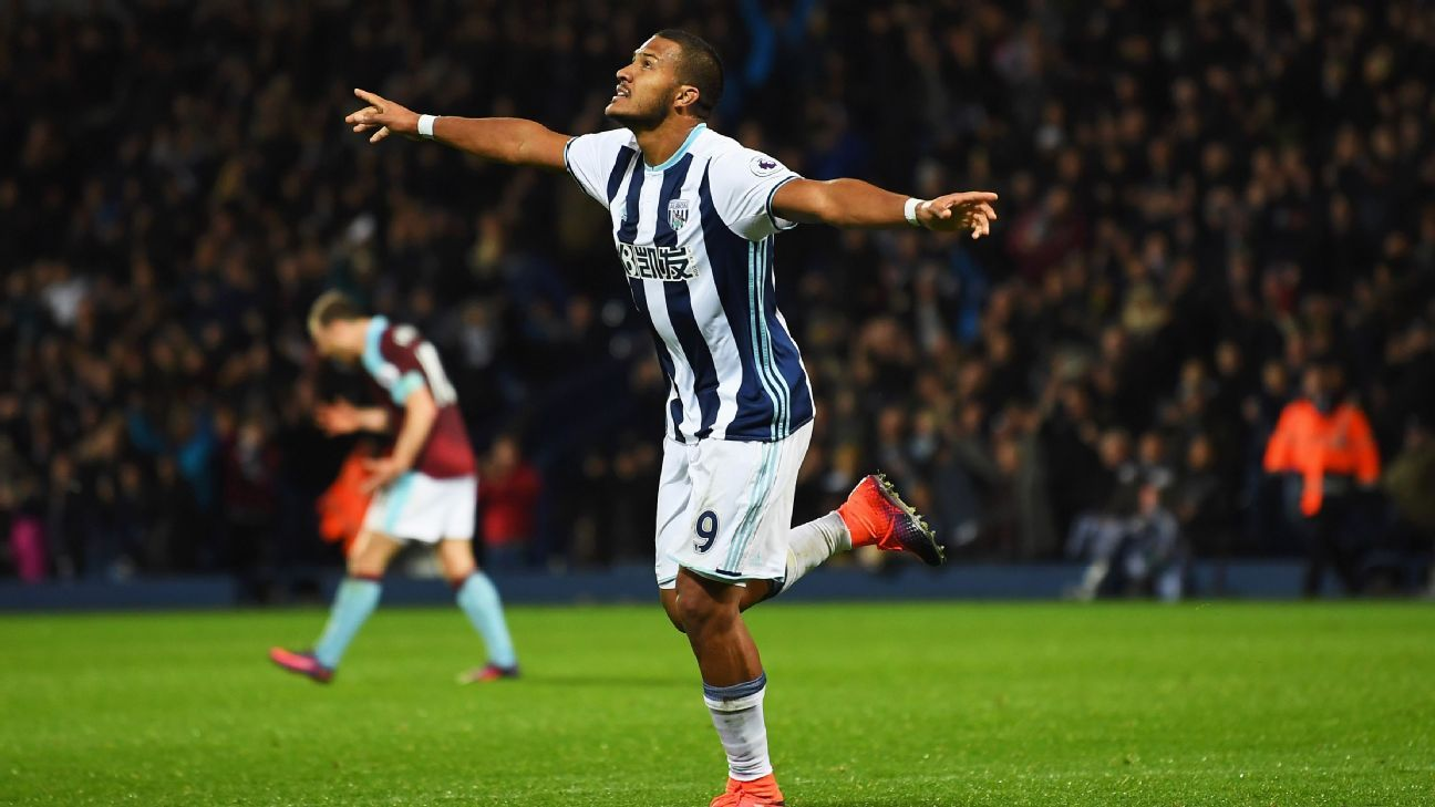 Salomon Rondon celebrates after scoring a goal for West  Brom versus Burnley.
