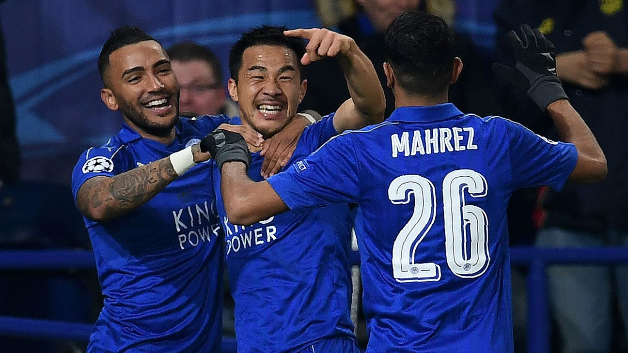 Shinji Okazaki guided Leicester into a place in the round of 16.