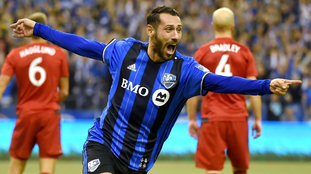 Montreal Impact forward Matteo Mancosu celebrates after scoring against Toronto FC.