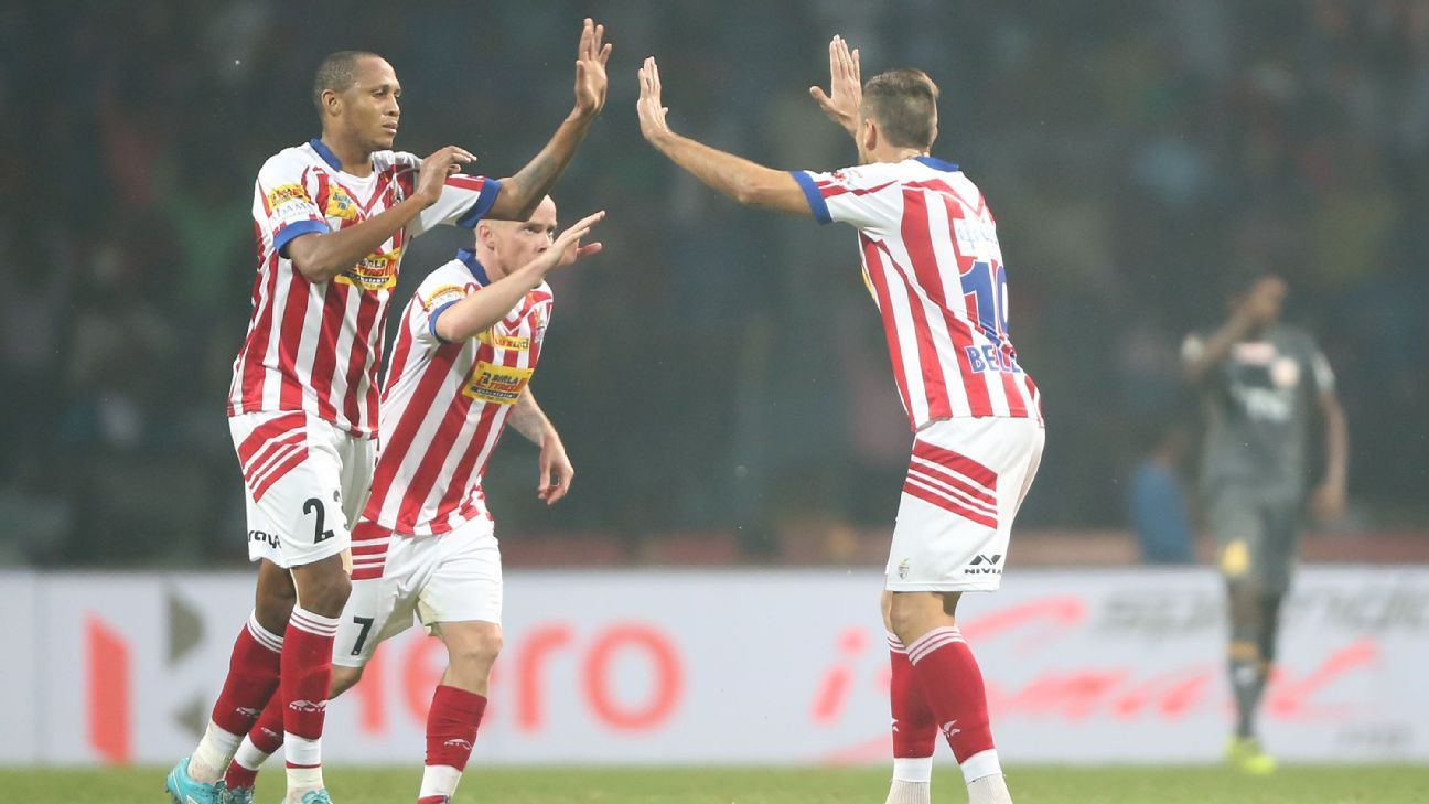 Atletico de Kolkata players celebrate after a goal against NorthEast United on November 17.