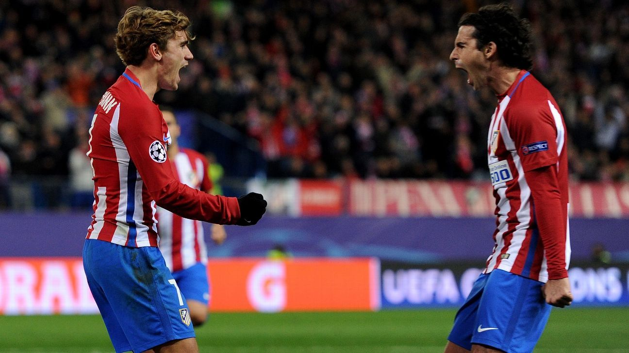 Antoine Griezmann celebrates after scoring for Atletico Madrid vs. PSV Eindhoven.