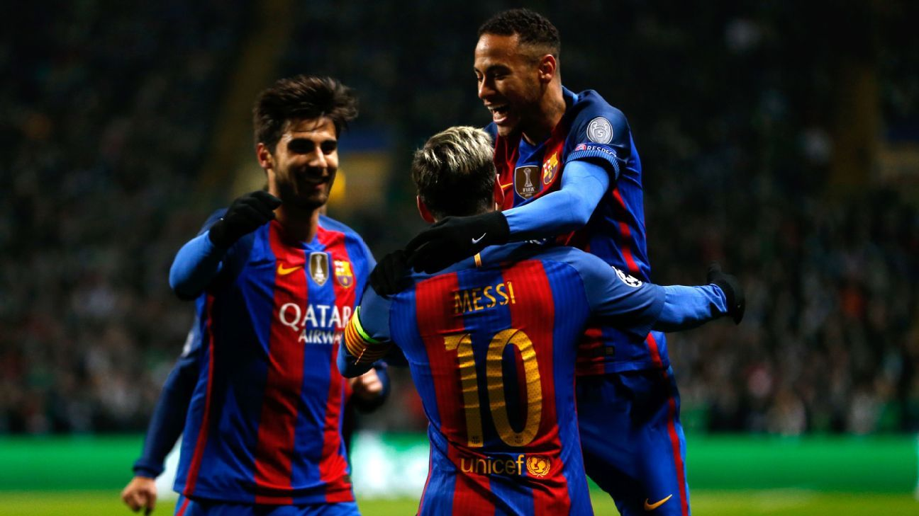 Neymar Messi celeb vs Celtic 161123