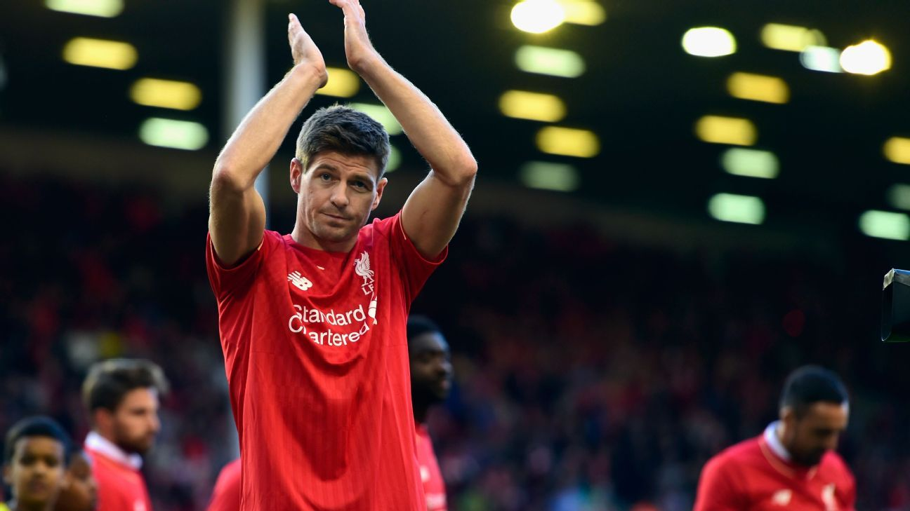 Steven Gerrard of Liverpool applauds the Kop end after he Barclays Premier League match betrween Liverpool and Crystal Palace at Anfield on May 16, 2015