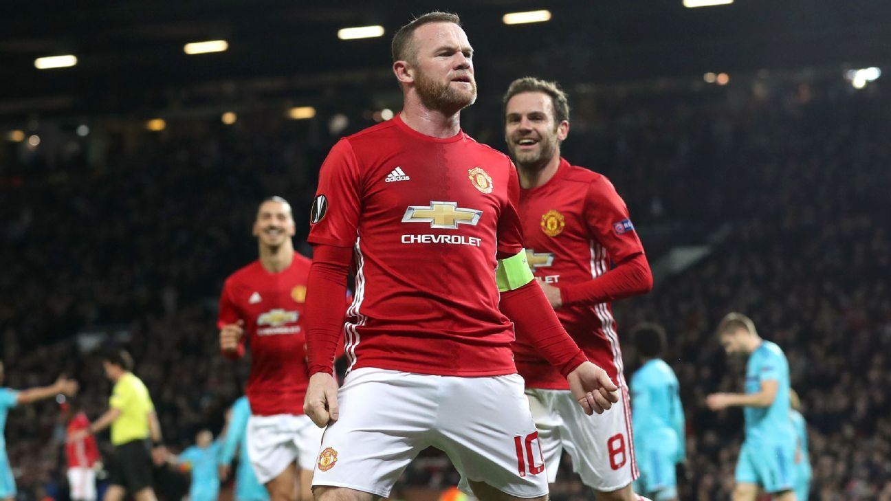 Wayne Rooney celebrates his goal against Feyenoord.