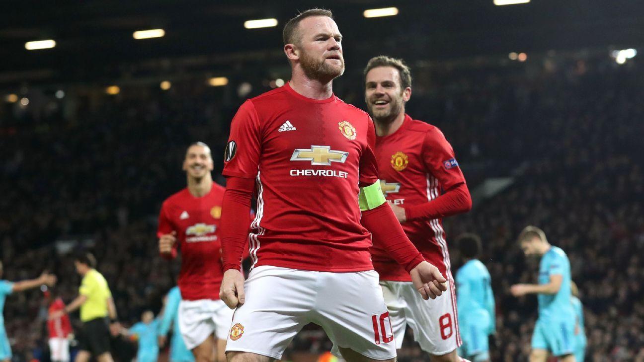 Wayne Rooney celebrates his goal against Feyenoord.
