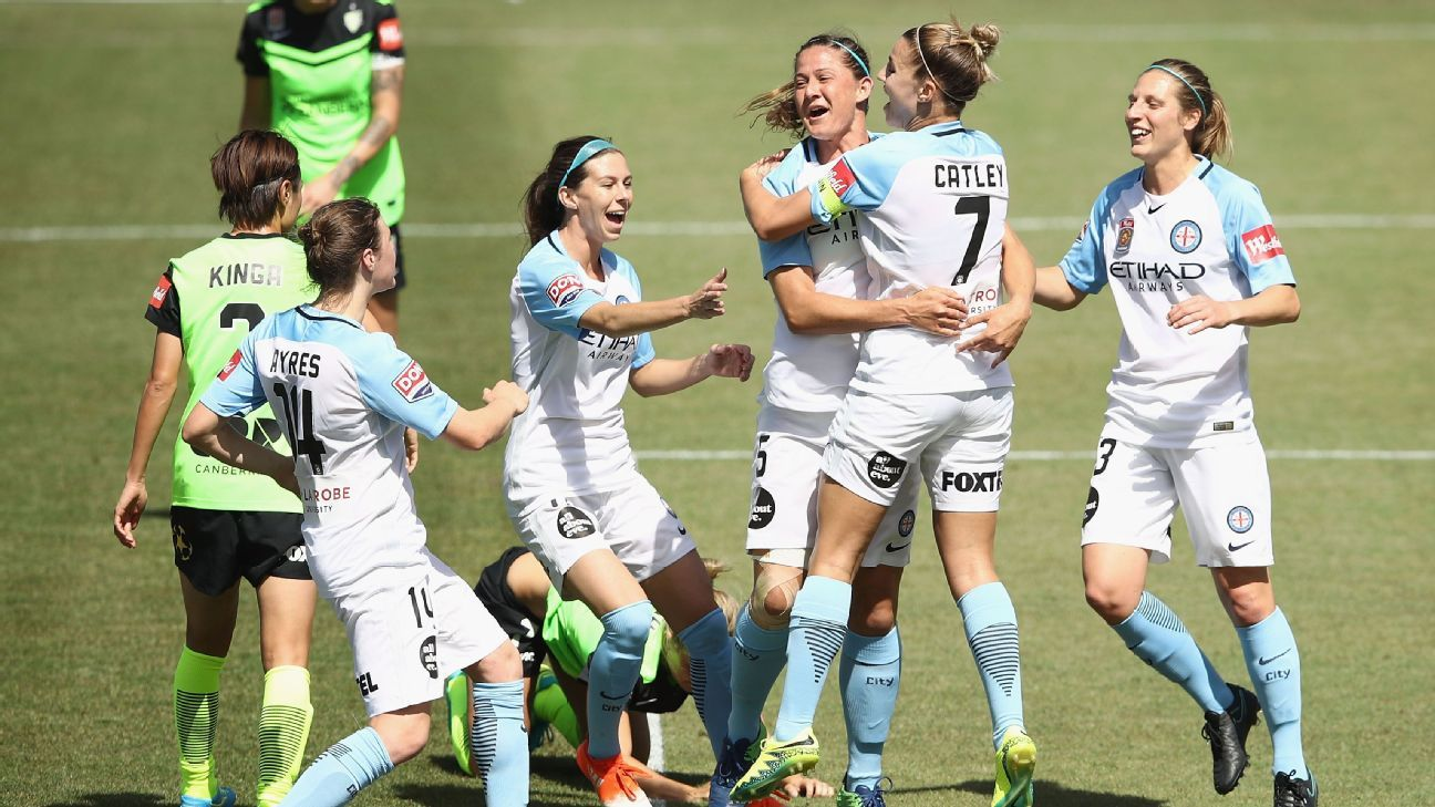 Melbourne City's Laura Alleway celebrates with teammates after scoring against Canberra in November.
