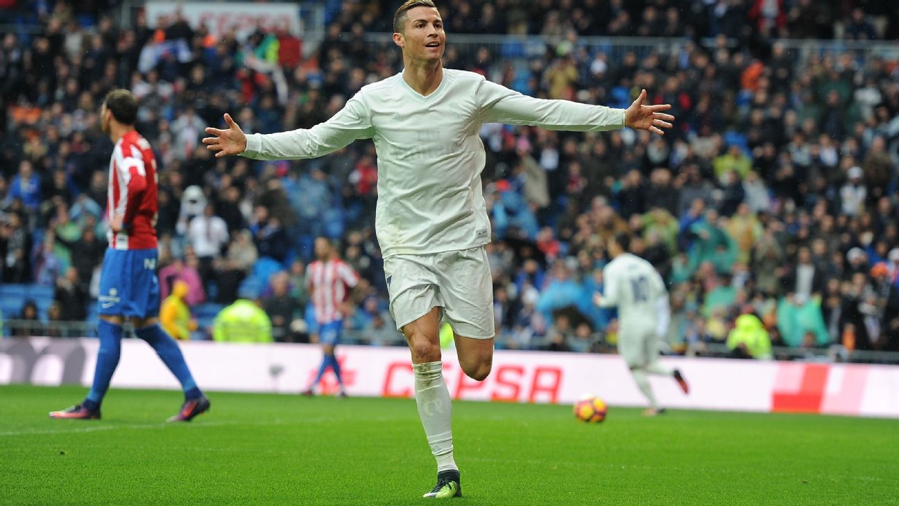 Cristiano Ronaldo celebrates his early penalty.