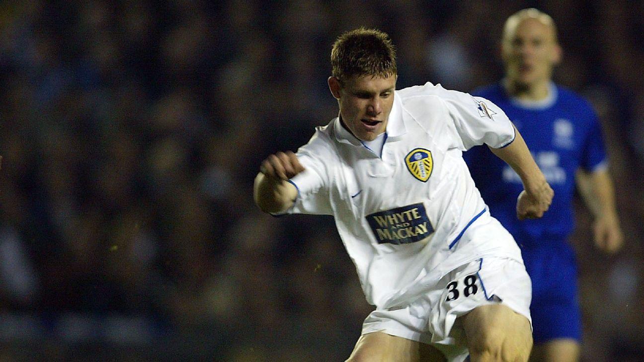 LEEDS, ENGLAND - APRIL 13:  James Milner of Leeds scores during the FA Barclaycard Premiership match between Leeds United and Everton at Elland Road on April 13, 2004 in Leeds, England.