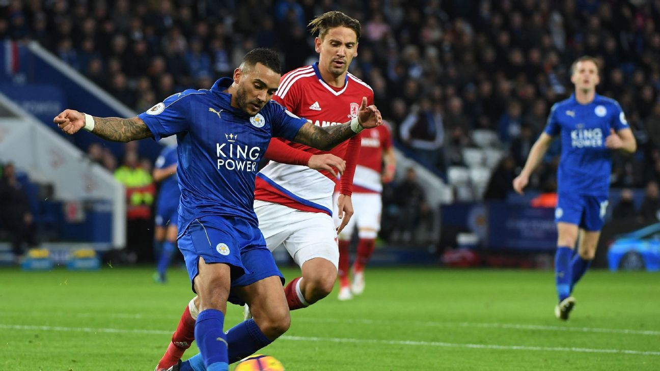 Danny Simpson in action for Leicester City against Middlesbrough.