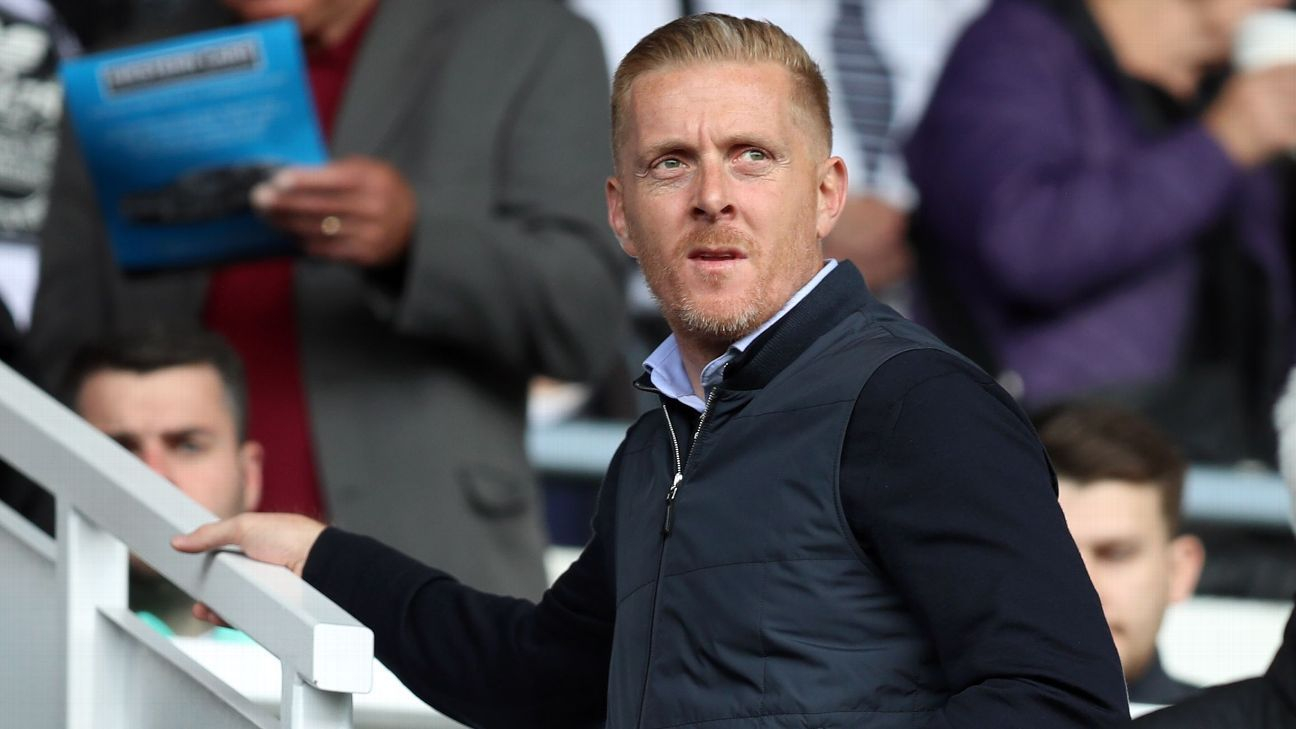 Leeds United's Manager Garry Monk watches from the stands