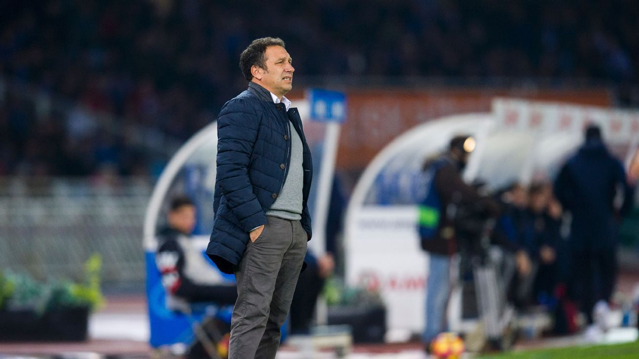 Real Sociedad coach Eusebio during their La Liga game against Barcelona.