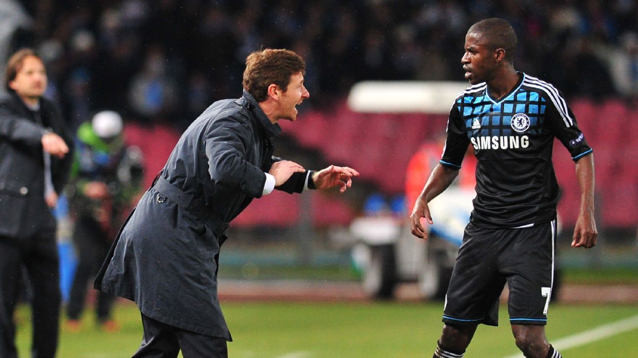 Manager Andre Villas-Boas talks to midfielder Ramires during their time at Chelsea.