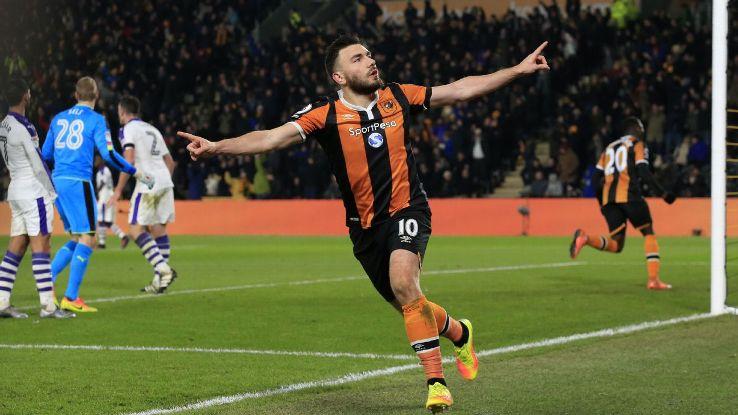 Hull City's Robert Snodgrass celebrates after scoring.