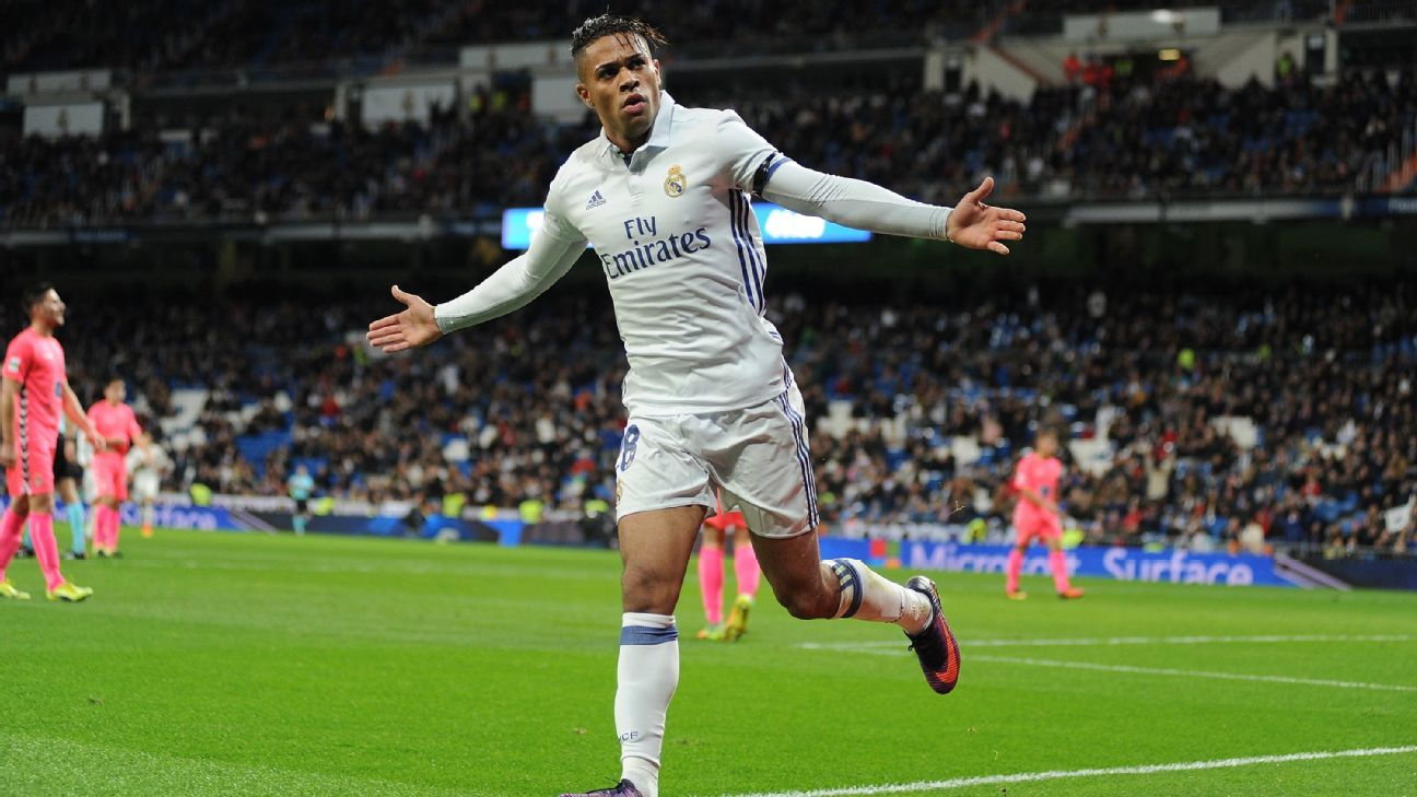 Mariano celebrates after scoring his third goal of the day for Real Madrid against Leonesa.