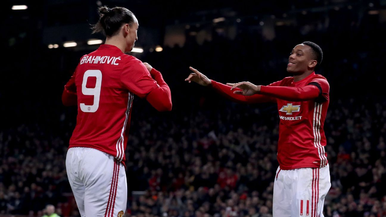 Zlatan Ibrahimovic and Anthony Martial celebrate during Manchester United's win on Wednesday.