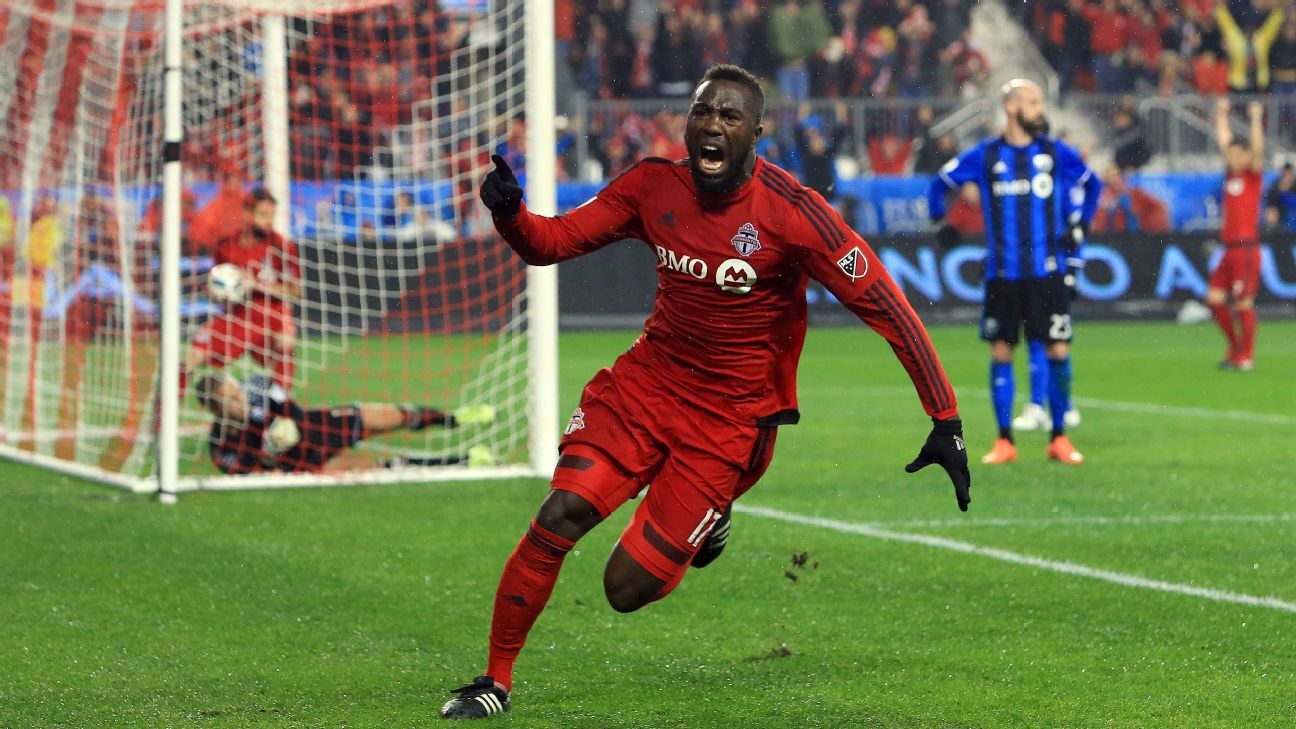 Jozy Altidore celebrates after giving Toronto FC the lead against Montreal.
