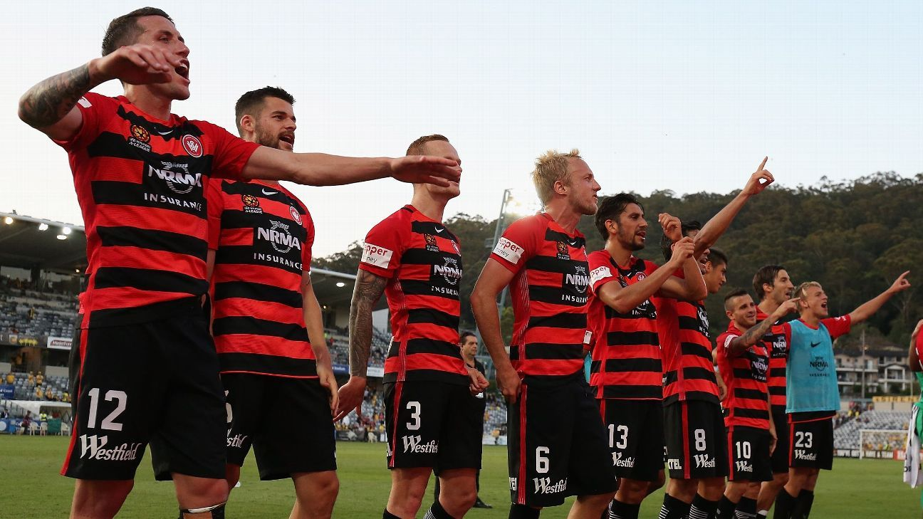 Western Sydney Wanderers celebrate their victory over Central Coast.