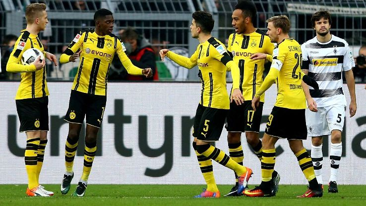 Pierre-Emerick Aubameyang guided Dortmund to the 4-1 win.