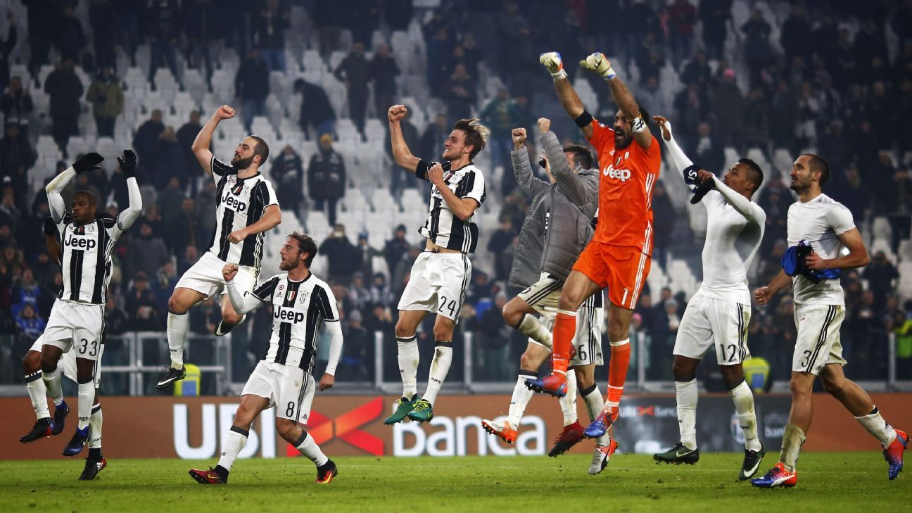 Juventus celebrate their victory over Atalanta on Saturday.