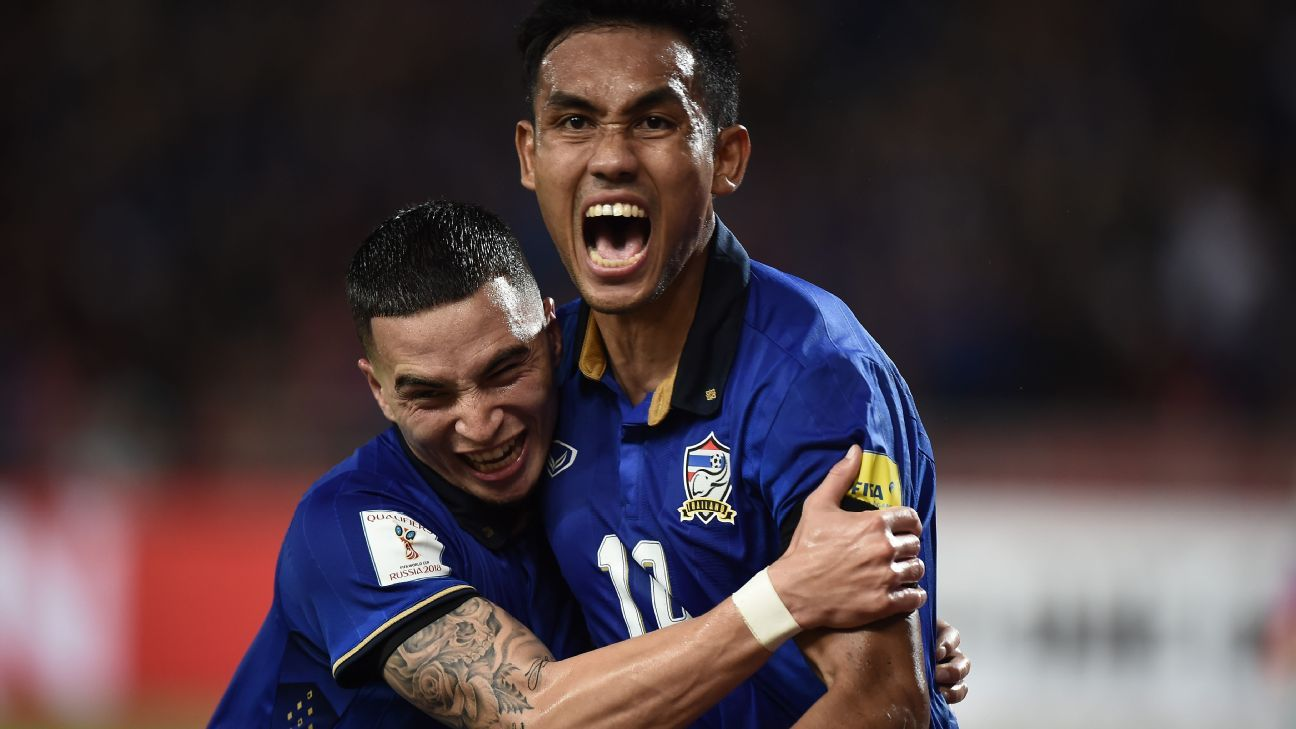 Thailand's Teerasil Dangda and Tristan Do