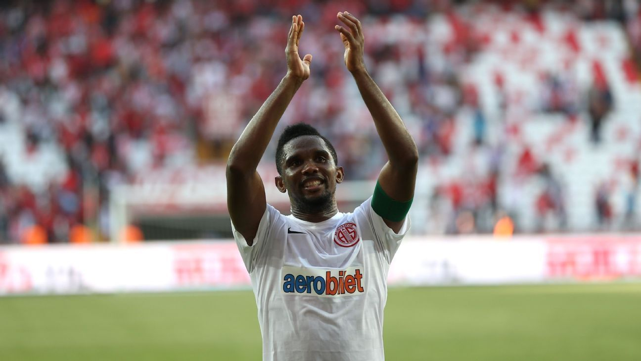 Samuel Eto'o celebrates after scoring a goal for Antalyaspor.