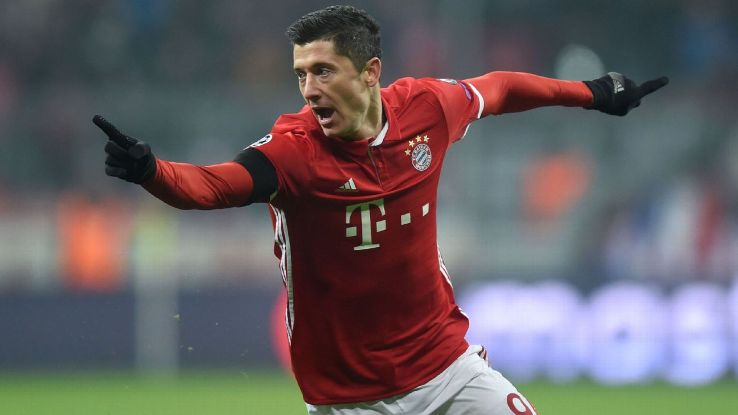 Robert Lewandowski celebrates after scoring the only goal in Bayern Munich's 1-0 win against Atleti.