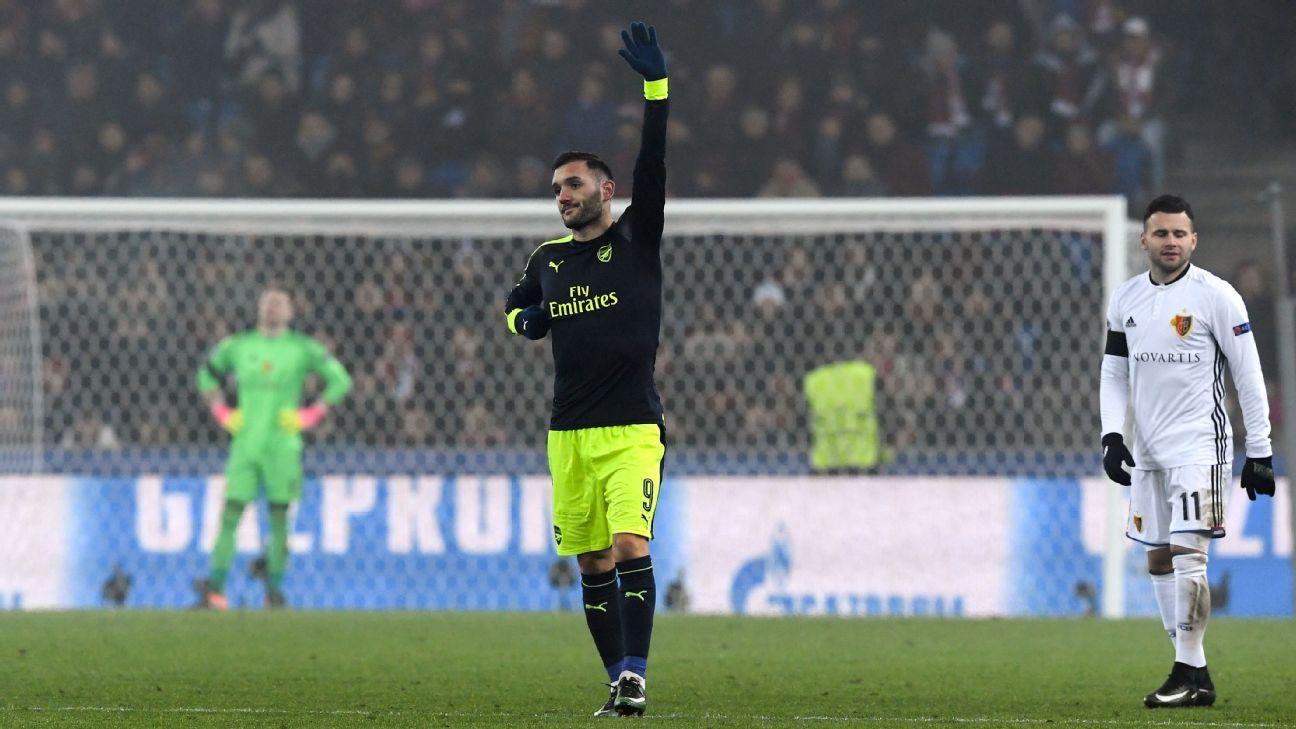 Lucas Perez celebrates his hat trick goal against Basel.