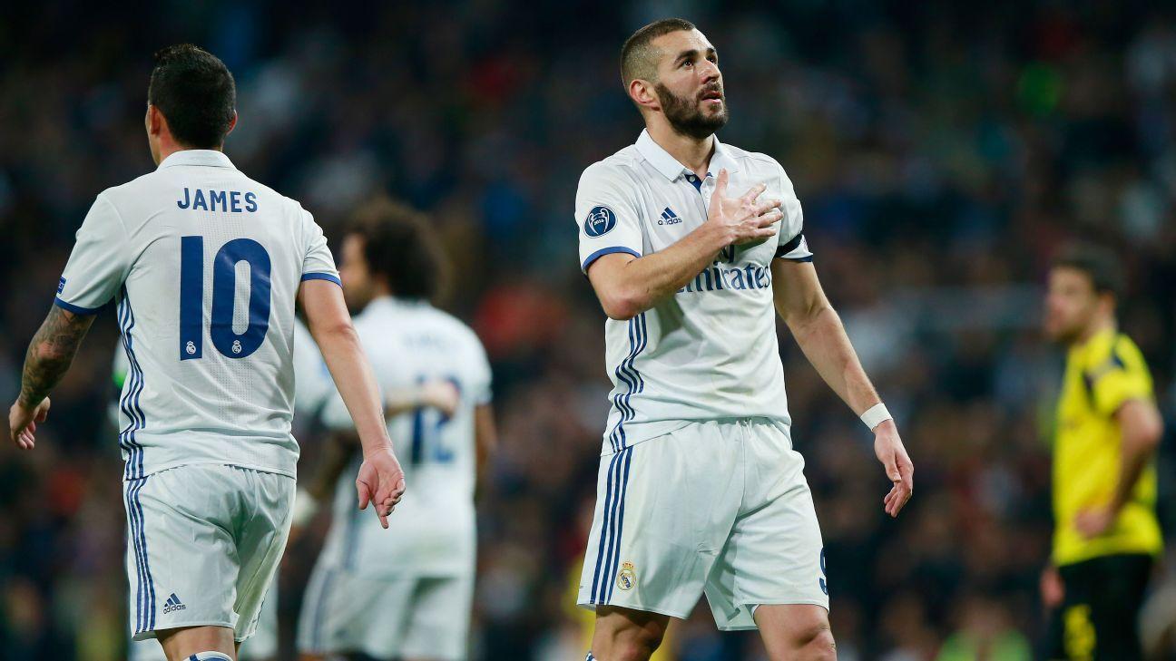 Karim Benzema celebrates after scoring Real Madrid's opener against Borussia Dortmund.
