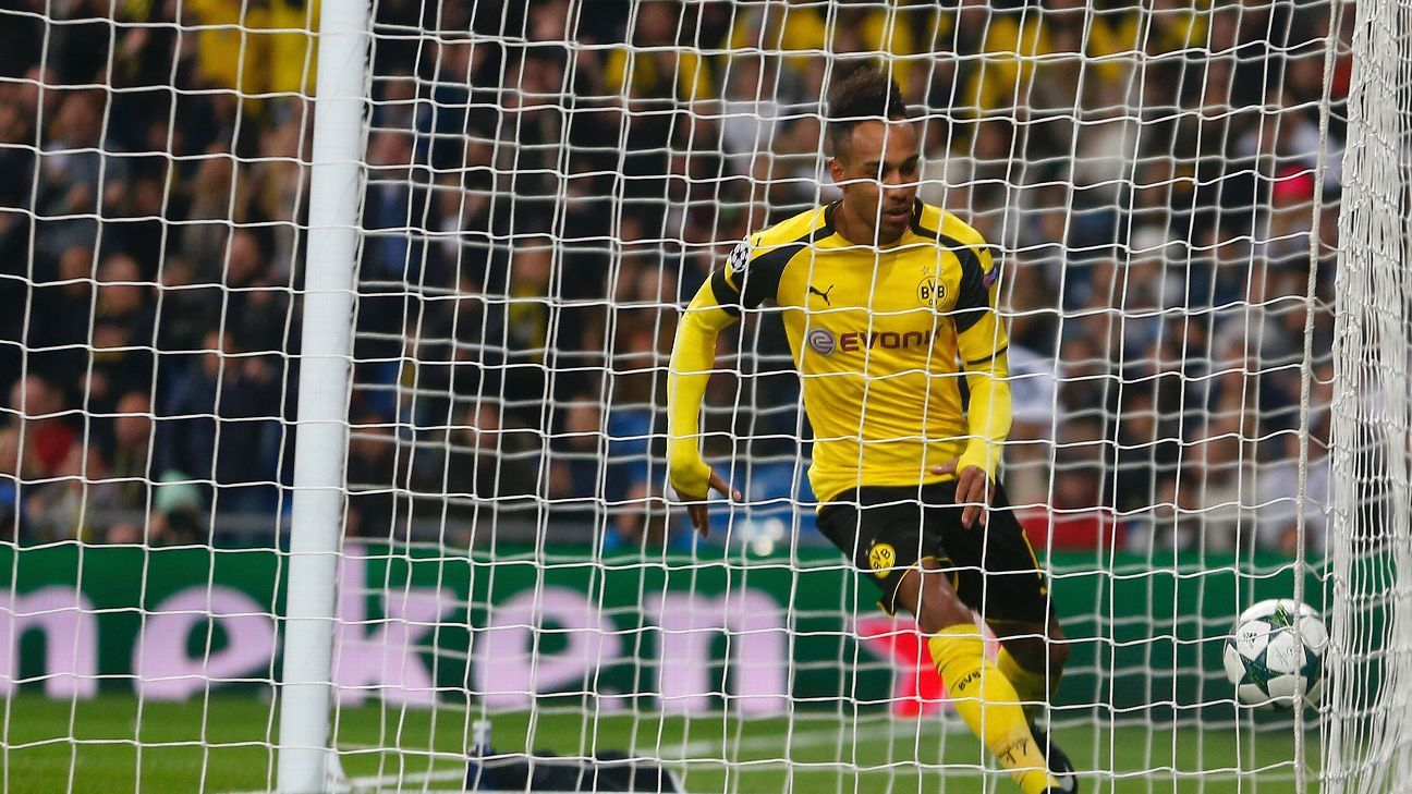 Pierre-Emerick Aubameyang celebrates after scoring Dortmund's opener against Real Madrid.