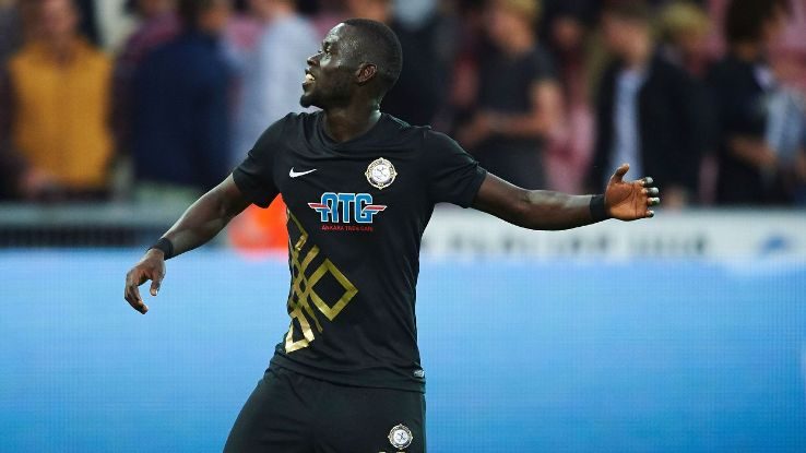 Papa Alioune N'Diaye celebrates after scoring for Osmanlispor against FC Midtjylland in the Europa League.
