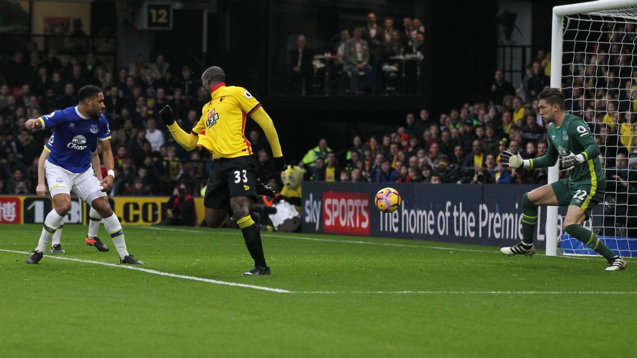 Stefano Okaka shoots and scores for Watford on Saturday.