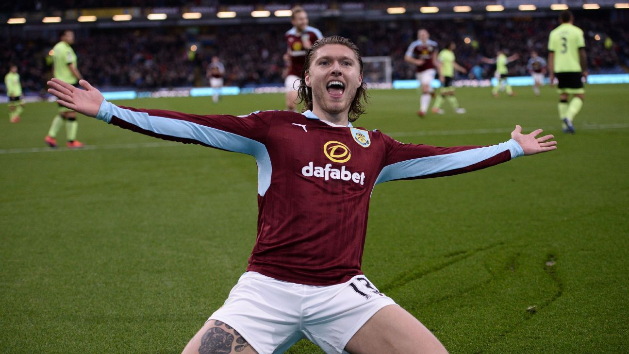 Jeff Hendrick celebrates after scoring the opening goal for Burnley.
