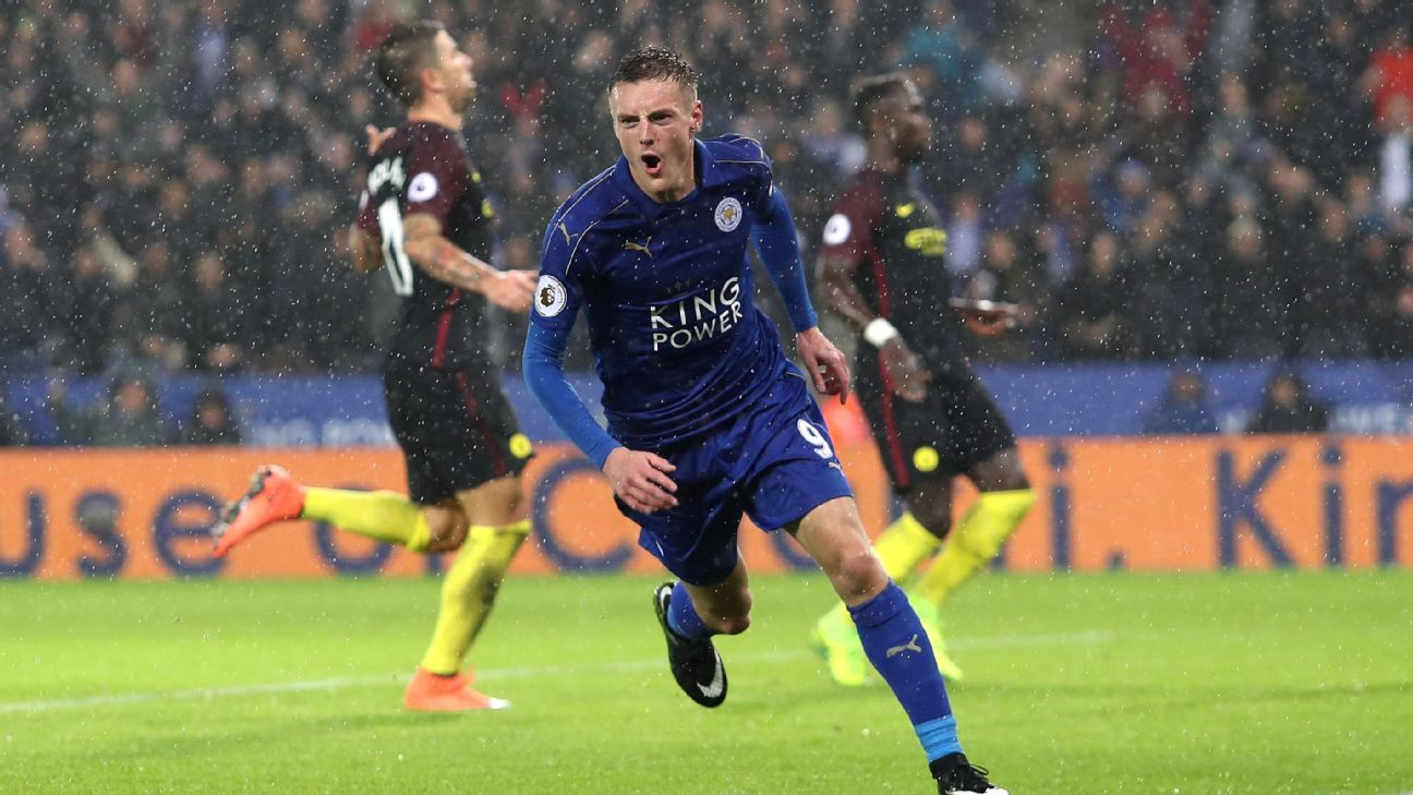 Jamie Vardy's hat trick helped Leicester defeat Man City.