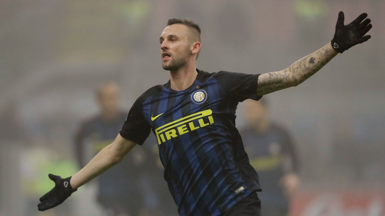 Inter Milan's Marcelo Brozovic celebrates after scoring in his team's 2-0 win against Genoa.