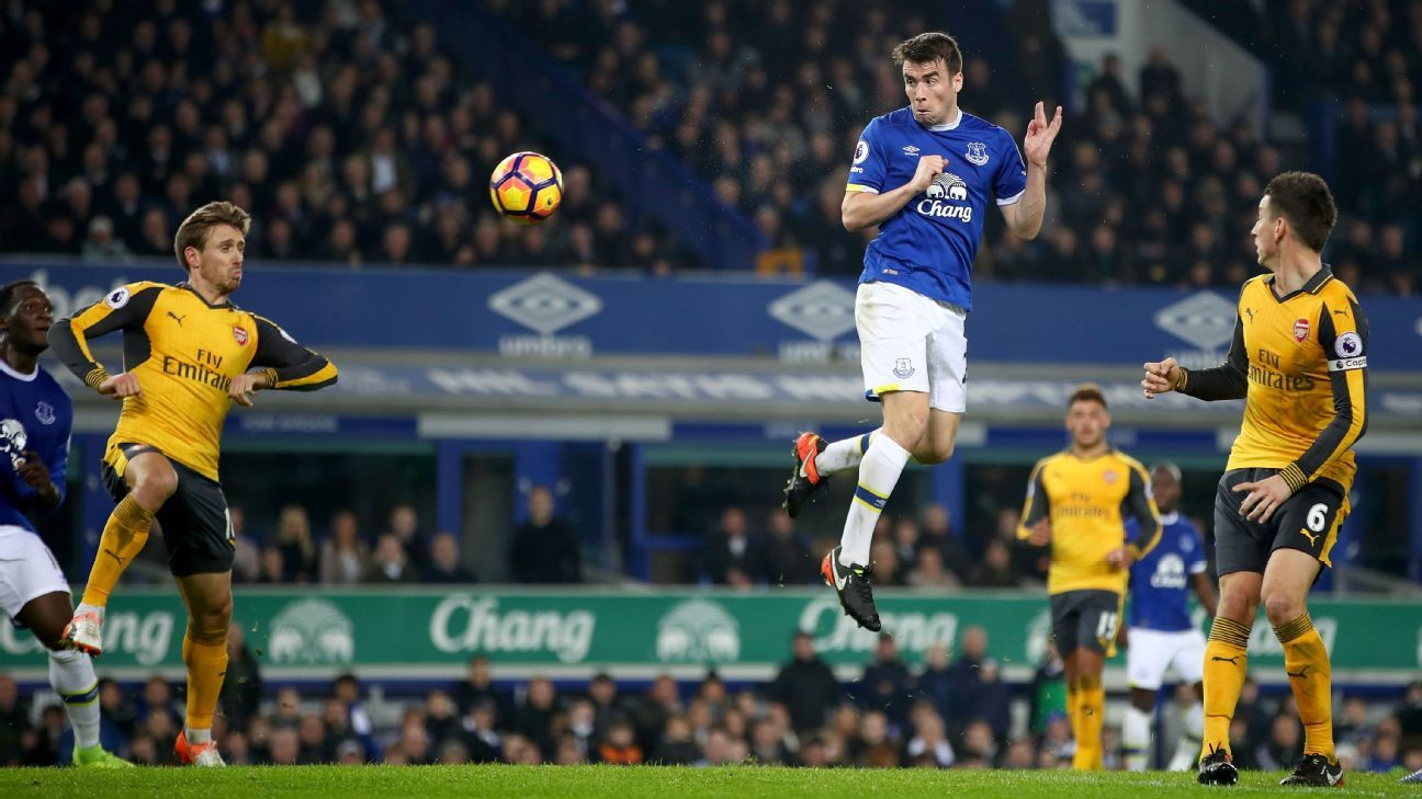 Seamus Coleman heads home just before half-time for Everton.