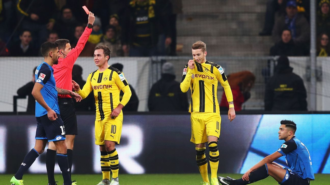 Marco Reus is shown a red card and sent off after earning a second caution against Hoffenheim.