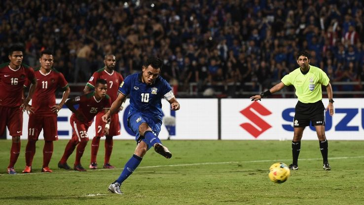 Teerasil Dangda takes penalty for Thailand