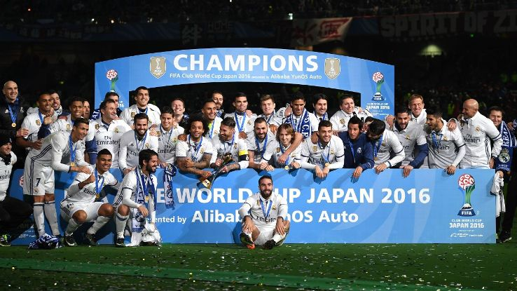 Real Madrid players celebrate victory following the Club World Cup victory over Kashima Antlers.