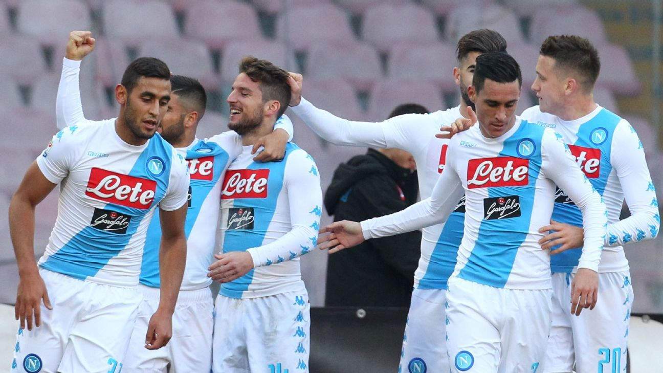 Dries Mertens celebrates after scoring for Napoli in their Serie A game against Torino.