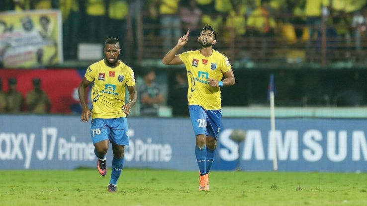 Mohammed Rafi of Kerala Blasters FC celebrates his goal during the Final of the Indian Super League (ISL) season 3 between Kerala Blasters FC and Atletico de Kolkata held at the Jawaharlal Nehru Stadium in Kochi, India on the 18th December 2016.