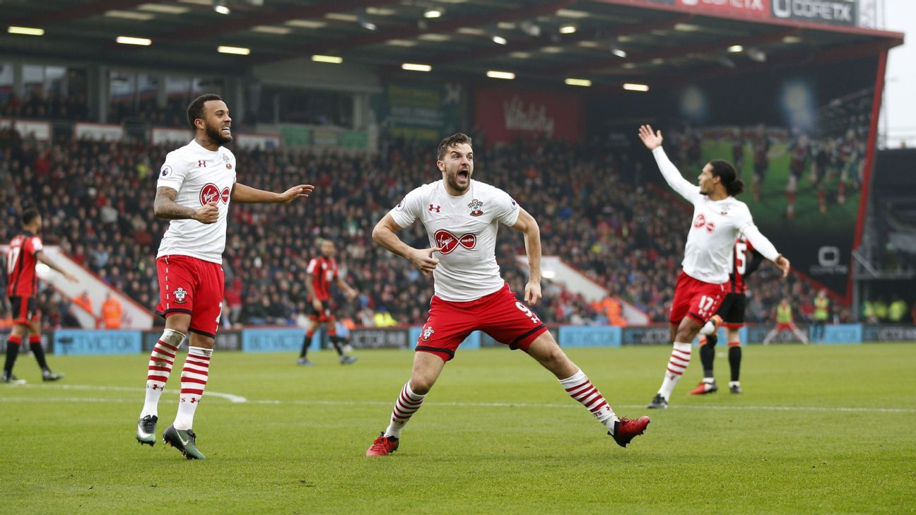 Jay Rodriguez celebrates after scoring a goal for Southampton against Bournemouth in the Premier League.