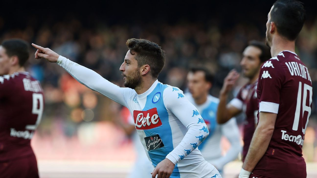Dries Mertens celebrates a goal scored for Napoli in their Serie A game against Torino.
